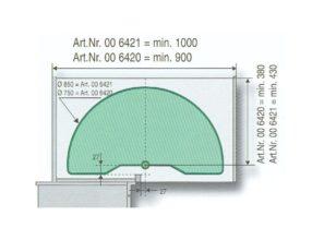 1/2 draaibodemset doorsnede 750 mm
