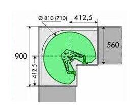 3/4 draaibodemset doorsnede 810 mm