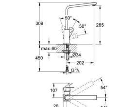 31255000 Grohe Eurocube design keukenkraan chroom
