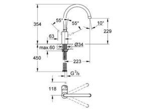 32661DC1 Grohe Concetto met hoge uitloop keukenkraan supersteel