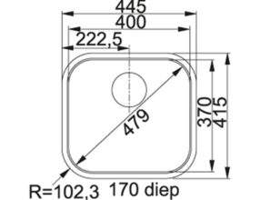 Franke Quadrant 210 QAX Maattekening