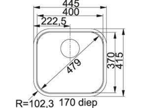 Franke Quadrant QTX210 Maattekening