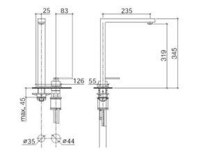Dornbracht 2-gats keukenkraan Lot met afdekplaat Chroom 3284368000