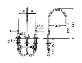 Dornbracht tara classic 3-gats keukenkraan Chroom 2081588200