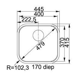 Franke Quadrant QTX 210 Spoelbak vlakinbouw 1270082244