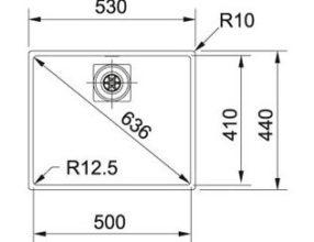 Franke Spoelbak Centinox CMX110-50 Onderbouw 1220276388