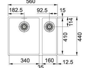 Franke Spoelbak Sirius SID 160 Tectonite Carbon Black Spoelbak Onderbouw 1250252215