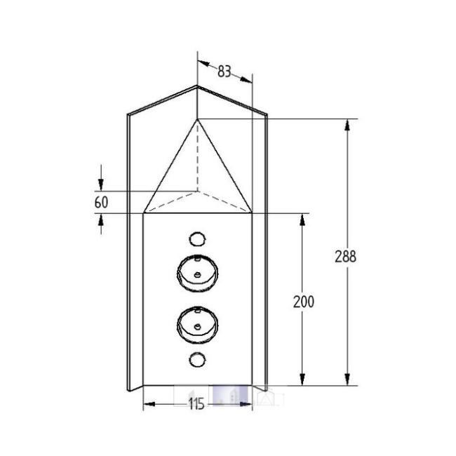 Hoekstopcontact 2-voudig RVS met afdekkap VST3007-2C 17586/200/2C