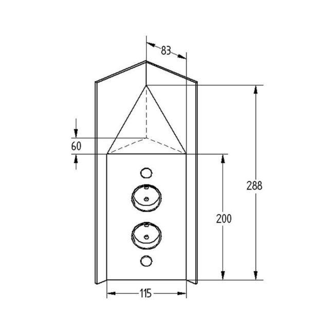 Hoekstopcontact 2-voudig Zwart met afdekkap VST3007-2C