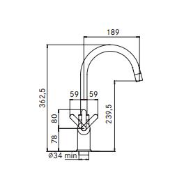 Kraan 3-1 Minerva kokendwaterkraan chroom 10 ltr combi M-box