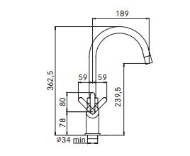 Kraan 3-1 Minerva kokendwaterkrtaan chroom 5 ltr combi M-box