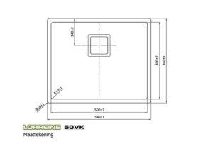 Lorreine 50VK Exclusive spoelbak Rvs vierkant plug