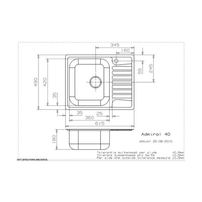 Reginox Admiral 40 spoelbak Vlakinbouw B49S7LLU06GDS