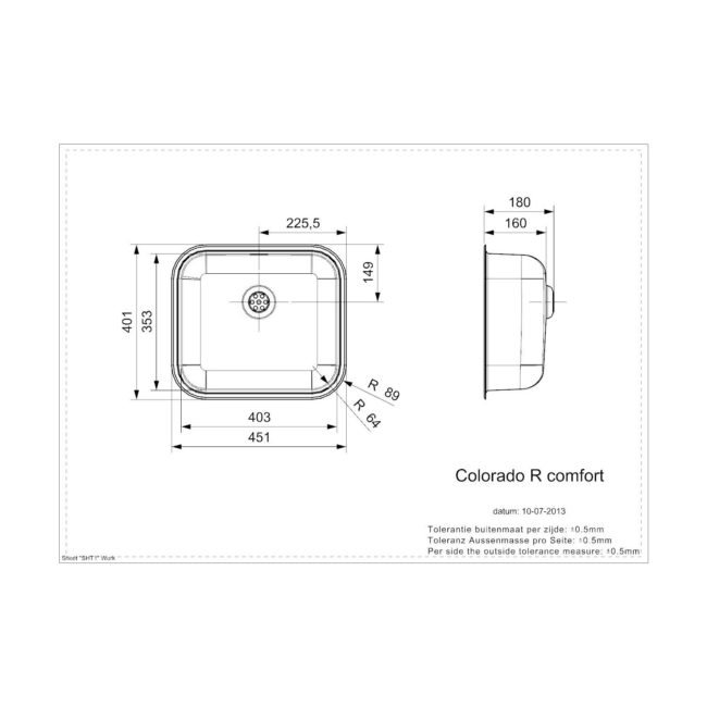 Reginox Colorado Comfort OKG opbouw Spoelbak