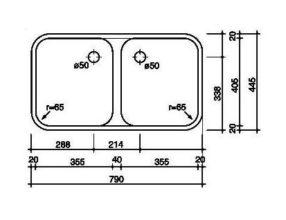 Reginox L1835D40 SKOSK spoelbak Vlakinbouw B2924LLU04GDS