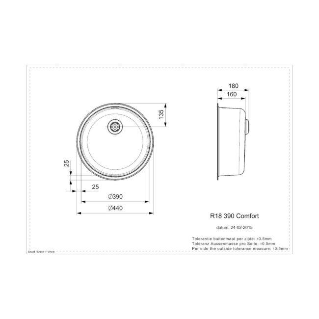 Reginox R18 390 Comfort opbouw Spoelbak