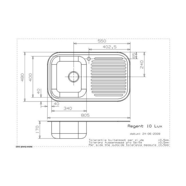 Reginox Regent 10 Lux spoelbak Opbouw B1785RLU06GDS