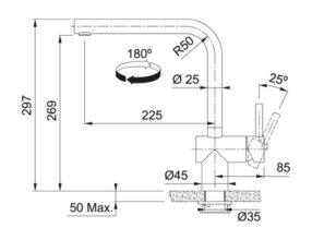 Franke Atlas Neo Sensor RVS Maattekening