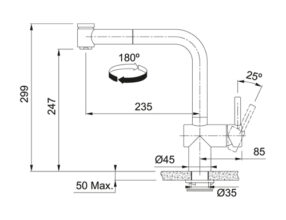 Franke Atlas Neo Sensor RVS UIttrekbaar 2 Maattekening