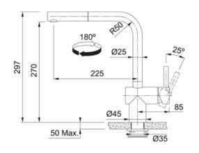 Franke Atlas Neo Sensor UIttrekbaar Tekening