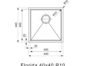 Reginox-Spoelbak-Florida-40x40-afmetingen