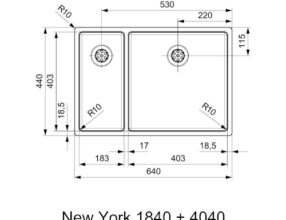 Reginox-Spoelbak-New-York-Comfort-18X40+40X40-afmetingen